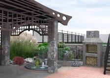 De ideeën van het terrasontwerp, 3d illustratie vector illustratie