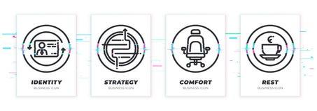 De identiteit, strategie, comfort, rust Bedrijfsthema glitched zwarte geplaatste pictogrammen royalty-vrije stock fotografie