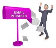 De Identiteit van Phishingsscam E-mail het Waakzame 3d Teruggeven stock illustratie