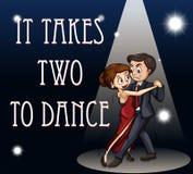 De idiomatische uitdrukkingsaffiche voor het neemt twee om te dansen royalty-vrije illustratie