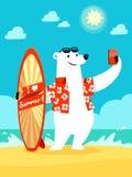 De ijsbeer neemt selfie bij het strand Royalty-vrije Stock Fotografie