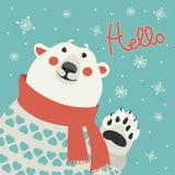 De ijsbeer zegt hello Stock Foto's