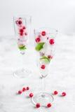 De ijsblokjes met bessen en de munt in glazen voor de zomer drinken witte achtergrond Stock Foto's