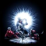 De ijshockeyspelers schaatsen op een abstracte achtergrond royalty-vrije stock foto