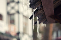 De ijsijskegels hangen van een dak Royalty-vrije Stock Afbeelding