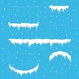 De ijskegel van het sneeuwijs voor vierkant, cirkel, ellips en rechthoekvormen wordt geplaatst die De kappen van de de wintersnee royalty-vrije illustratie