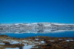 De Ijslandse fjord wordt weerspiegeld in het water royalty-vrije stock fotografie