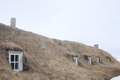 De Ijslandse vensters van het grashuis Royalty-vrije Stock Foto