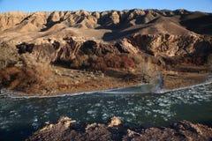De ijsschol van het ijs in woestijnrivier Stock Foto