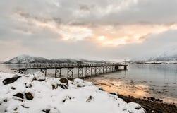 De ijzerbrug is vooruitstekend in het overzees stock fotografie