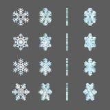 De ijzige kaders van de de omwentelingsrotatie van de winter feestelijke sneeuwvlokken fx Stock Afbeeldingen