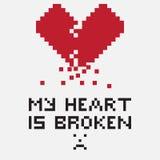 De illustratie in de vorm van a pixelated gebroken hart Stock Afbeelding