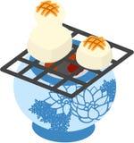 De illustratie die in de brief van de groeten bruikbaar is van het Nieuwjaar (Gebakken rijstcake) Stock Fotografie