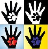 De Illustratie die van het concept van het Menselijke Silhouet van de Hand een poot van een Hond of een Kat houden Stock Afbeeldingen