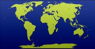 De Illustratie gele blauwe kleur verwijderde effect van de wereldkaart gevolgen stock foto's