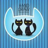 De illustratie met grappige leuke kattenhand trekt inzameling Stock Fotografie