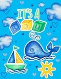 De illustratie met hand getrokken de zeilbootstuurwiel van de waterverfwalvis en drukt het is een jongen uit stock foto