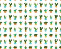 De illustratie naadloos vectorpatroon van het cactus vlak ontwerp Stock Foto's