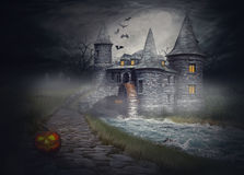 De illustratie op het thema van Halloween Stock Afbeelding