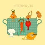 De illustratie op het thema van vegetarisme Royalty-vrije Stock Afbeeldingen