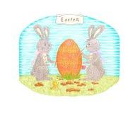 De illustratie Pasen van de handtekening met konijnen, ei en kip Stock Fotografie