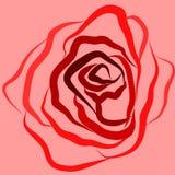 De illustratie, rode vector, nam, roze achtergrond, tederheid, silhouet, stijl, liefde toe stock illustratie