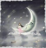 De illustratie toont het meisje dat de sterhemel bewondert Stock Afbeeldingen