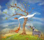 De illustratie toont romantische relaties tussen een giraf en vector illustratie