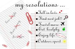 De illustratie van 'mijn resoluties Twee voerden bladen, één met drie resoluties met een kruis in rood en andere met definitieve  royalty-vrije illustratie