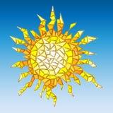 De illustratie van abstracte zon simuleerde gebarsten glas royalty-vrije illustratie