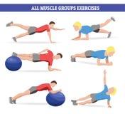 De illustratie van al spier groepeert de bal en de plank van de oefeningen wirh geschiktheid vector illustratie