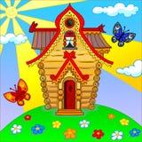 De illustratie van beeldverhaalhuis met een backgrownd Stock Foto