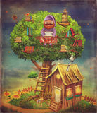 De illustratie van bejaarde persoonszitting op een boom en leest BO Royalty-vrije Stock Foto's