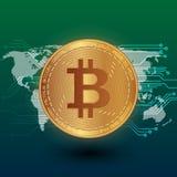 De illustratie van de Bitcoinvoorraad Digitale munt Cryptocurrency Gouden muntstuk met bitcoinsymbool op de groen achtergrond en  Stock Foto