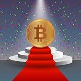 De illustratie van de Bitcoinvoorraad Digitale munt Cryptocurrency Gouden muntstuk met bitcoinsymbool op het rode tapijt en op Stock Foto