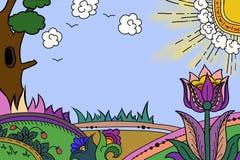 De illustratie van de bloemweide stock illustratie