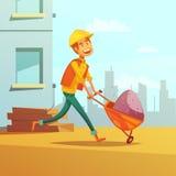 De Illustratie van bouwersand building cartoon Royalty-vrije Stock Afbeeldingen