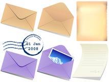 De illustratie van brievendocument en wikkelt Stock Afbeeldingen