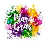 De illustratie van Carnaval Mardi Gras op de vlekken van de multicolorswaterverf, kleurt van Mardi Gras Carnaval, waterverf stock illustratie