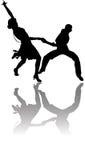De illustratie van dansers met bezinning Royalty-vrije Stock Afbeeldingen