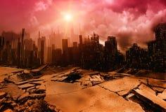 De illustratie van de aardbevingsstad Stock Foto's
