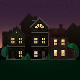 De illustratie van de avondscène Royalty-vrije Stock Afbeeldingen