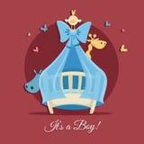De illustratie van de babydouche - het is een jongen Royalty-vrije Stock Afbeeldingen