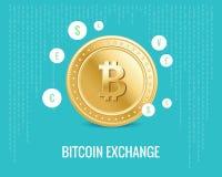 De illustratie van de Bitcoinuitwisseling met muntpictogrammen op de digitale blauwe achtergrond Stock Fotografie