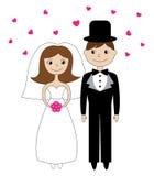 De illustratie van de bruid en van de bruidegom royalty-vrije illustratie