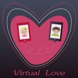 De illustratie van de Dag van de valentijnskaart Het ontvangen van of het verzenden van liefde e-mail voor valentijnskaartendag Stock Foto