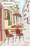 De illustratie van de de koffieschets van de straat. Royalty-vrije Stock Afbeeldingen