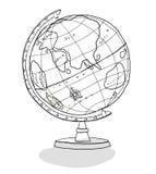 De illustratie van de de lijnkunst van de wereldbol Stock Afbeelding