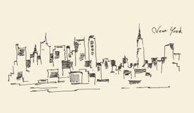 De illustratie van de de stadsgravure van New York Stock Afbeeldingen