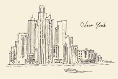 De illustratie van de de stadsgravure van New York Stock Foto's